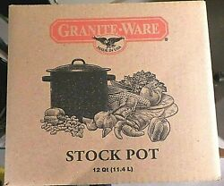 Graniteware Black And White Speckled Stock Pot W/ Lid 12 Qt. Usa Nib Never Used