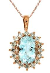 2.65ct Diamond And Aaa Aquamarine 14kt Rose Gold 3d Oval And Round Flower Pendant