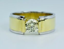 Men's 14k White Gold And Yellow Gold Tension Set Solitaire 1 Carat Center Ring