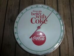 12and039 Round Things Go Better With Coke Coca-cola Thermometer 1960s