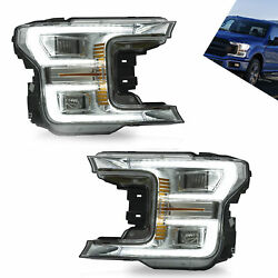 Chrome Housing Sequentia Led Headlight Left And Right For Ford F150 2018 2019 2020