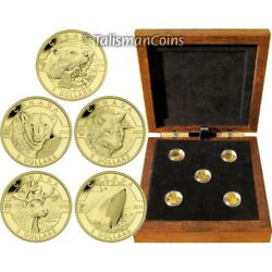 2013 O Canada Complete 5 Coin 5 1/10 Oz Gold Proof Set Wolf Orca In Wood Case