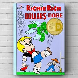 Original Mike Vice Dollars And Doge Coin Cryptocurrency Richie Rich Art Print