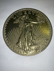 Vintage Paperweight Enlarged Coin 1907 Gold Colored Twenty Dollars 3 Inch Mcmvii