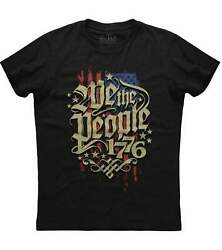 Mens We The People 1776 Distressed American Flag Patriotic T shirt Constitution