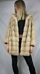 New Saga Palomino Mink Fur Hooded Jacket Oversized Exclusive All Sizes Available