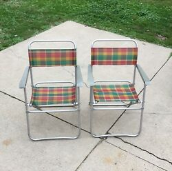2 Retro Vintage Matching Pair Aluminum Folding Lawn Chairs Camping Rv Airstream