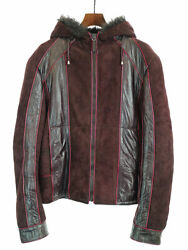 Used __gucci Suede Leather Mouton Fur Hood Zip Up Blouson Jacket Free Shipping