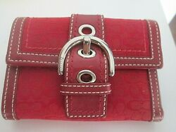 Coach Red CC Signature Leather Trifold Coin Pouch Buckle Soho Hobo Wallet $36.99