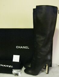 High Boots New Black Leather Size 38