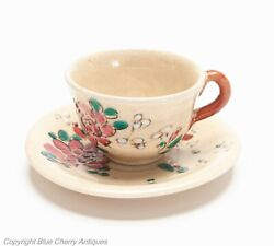 Antique Japanese Kyo-yaki Satsuma Ware Miniature Pottery Cup And Saucer