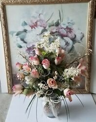 New Large Floral Flower Arrangment And Wall Frame Picture Home Accent Decor Set