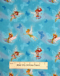 Disney Fairies Butterfly Tinkerbelle Aqua Cotton Fabric Cp25325 27 And 14 2 Pc