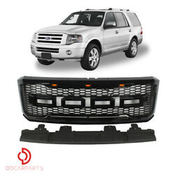 Fits 2007-2014 Ford Expedition Front Grille Raptor Style W/letters Gloss Black