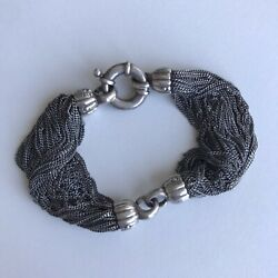 Vintage And Co. Rare Sterling Silver Multi Strand Charcoal Mesh Bracelet