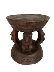 African Dogon Carved Wood Milk Stool Mali 10.75 H