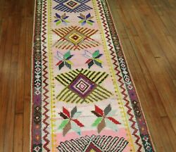 Vintage Turkish Kars Anatolian Runner Rug With Metal Thread Size 2and0399and039and039x12and039