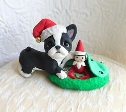 Boston Terrier hiding Elf on shelf Hand Sculpted Dog Collectible Furever Clay