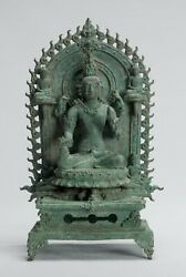 Antique Indonesian Style Bronze Javanese Enthroned Seated Shiva Statue -34cm/14