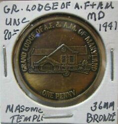 Masonic Token Grand Lodge Of A.f. And A.m. Of Maryland Unc. 36mm Bronze