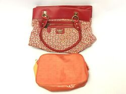 Mixed Vintage Lot Used Estee Lauder Makeup Bag Large Red Coach Bucket Purse