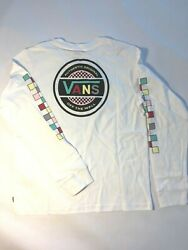 Vans New Party Over Here Long Sleeve White T Shirt Boy#x27;s Youth Medium 10 12