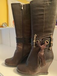Tall Brown Genuine Leather Winter Boots From Europe With Shearling Fur