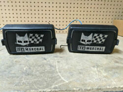 Vintage S.e.v Marchal 850 852 859 Yellow Lens Fog Lights W/ Marchal Covers Rare