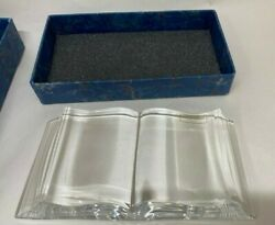 St Louis Crystal Book Paperweight Made In France Sticker And Signed 6.25 By 3