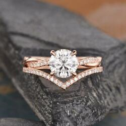 1.30 Ct Round Cut Colorless Moissanite Infinity Bridal Set 14k Rose Gold Plated