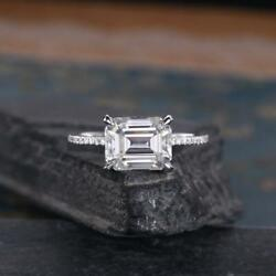 3.80 Carat Emerald Cut Colorless Moissanite Engagement Ring 14k White Gold Over