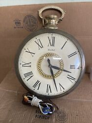 Antique United Clock Corp Model 47 Pocket Watch Wall Clock Used