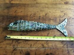 """Amazing Vintage Articulated Abalone Fish Bottle Can Opener 15.5"""" - Great Quality"""