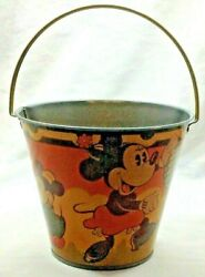 Vintage Disney Mickey Mouse And Minnie Mouse Tin Sand Pail Made In England