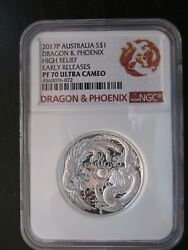 2017p Australia Dragon And Phoenix High Relief Graded Pf 70 Ultra Cameo By Ngc