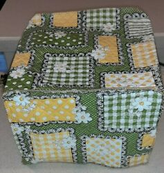 Vintage 70s Toaster Cover Flowers And Patterns Green, Yellow, White ,black