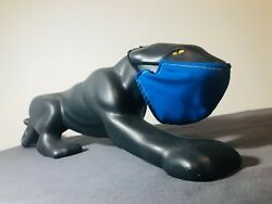 """Pitt Panther with Removable Blue Mask Large Black Ceramic Panther Figurine 25"""""""
