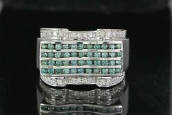 6200 Menand039s 14k White Gold 1.42ct Blue Round Diamond Cocktail Ring Band 9.25