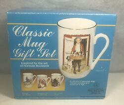 Vintage 1986 Set Of 4 Porcelain Mugs Inspired By The Art Of Norman Rockwell New.