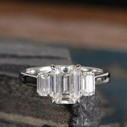 3.40 Carat Emerald Cut Colorless Moissanite Engagement Ring 14k White Gold Over