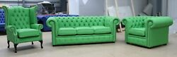 Chesterfield 3 Piece Tufted Buttoned 3+1+1 Sofa Bright Green Apple Leather Suite