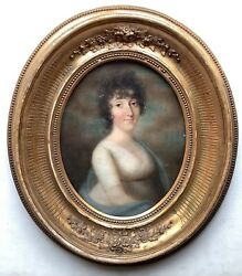 19th Century French Antique Oil Painting Portrait Woman Blue Shawl Boilly