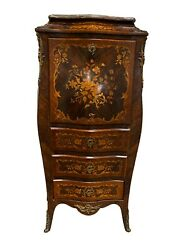 Showy Antique French Secretary / Desk Floral Inlays Walnut 1900and039s