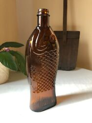 Antique Vintage Amber Dr. Fisch's Bitters Style Bottle Figural Collectible