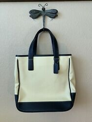 Coach Hampton tote Canvas and Black Leather Purse Shoulder Bag 7706 Excellent $44.00