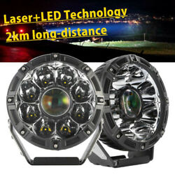 Pair 7inch Round Laser Led +drl Spot Driving Lights Work Lamp Offroad 4x4 Atv