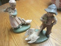 BOY And GIRL With GEESE VINTAGE FIGURINES Holland Mold