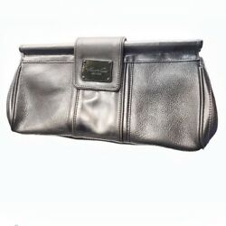 Kenneth Cole Women#x27;s Pewter Metallic Gray Genuine Leather Clutches Bags $58.00