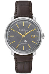 New Bulova Frank Sinatra The Best Is Yet To Come Gray Dial Brown Leather 96b345