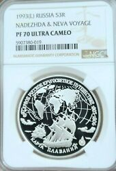 1993 Russia Silver 3 Roubles S3r Nadezhda And Neva Voyage Ngc Pf 70 Ultra Cameo